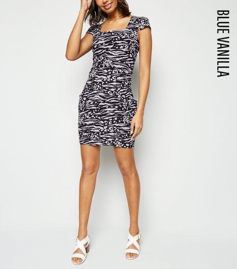 be6dcc24e24 ... Blue Vanilla Black Zebra Print Tulip Dress ...