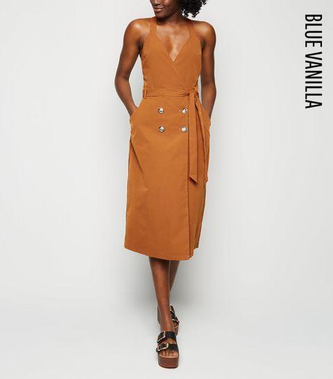 c4ef6c8cc13 ... Blue Vanilla Tan Button Up Wrap Midi Dress ...