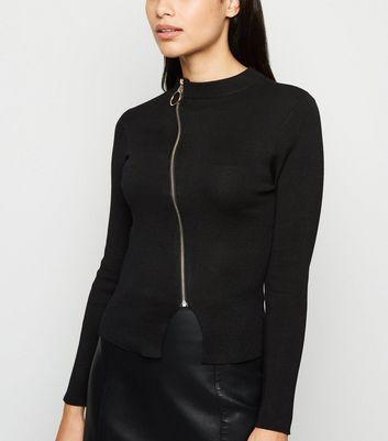 Pink Vanilla Black Knit Ring Zip Up Top New Look