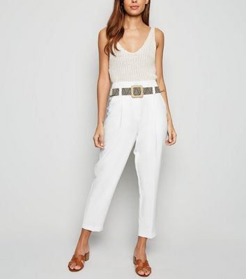 White High Waist Woven Belted Trousers
