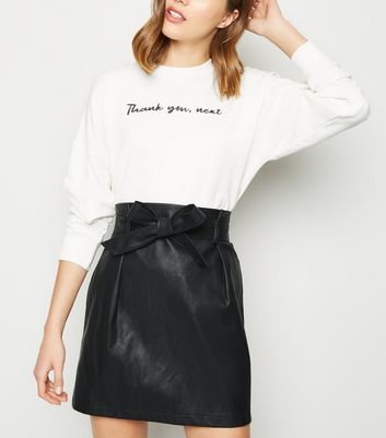 Black Leather-Look Paperbag Mini Skirt