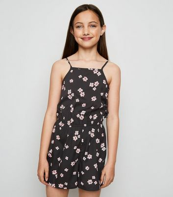 Girls Black Floral High Neck Playsuit by New Look