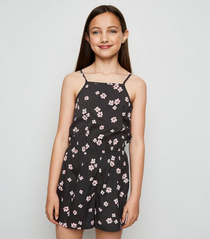 24c2eb99f02e Girls Black Floral High Neck Playsuit | New Look