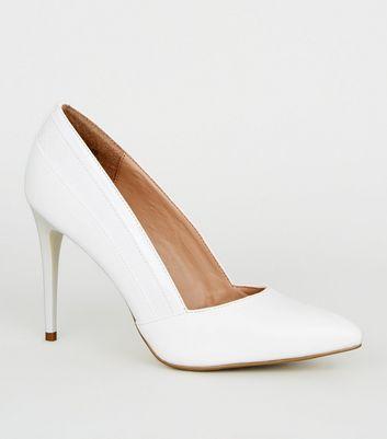 White Faux Croc Panel Court Shoes | New