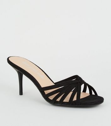 Black Suedette Strappy Knot Stiletto Mules