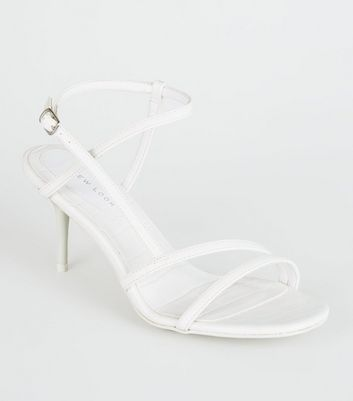 White Faux Croc Square Toe Mid Stilettos
