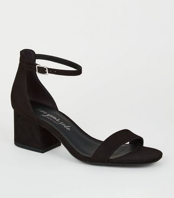 Black Suedette Flared Low Block Heels