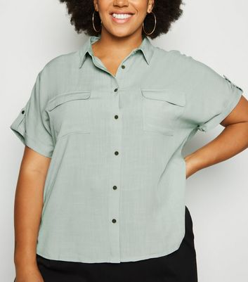 Curves Green Linen-Look Pocket Shirt