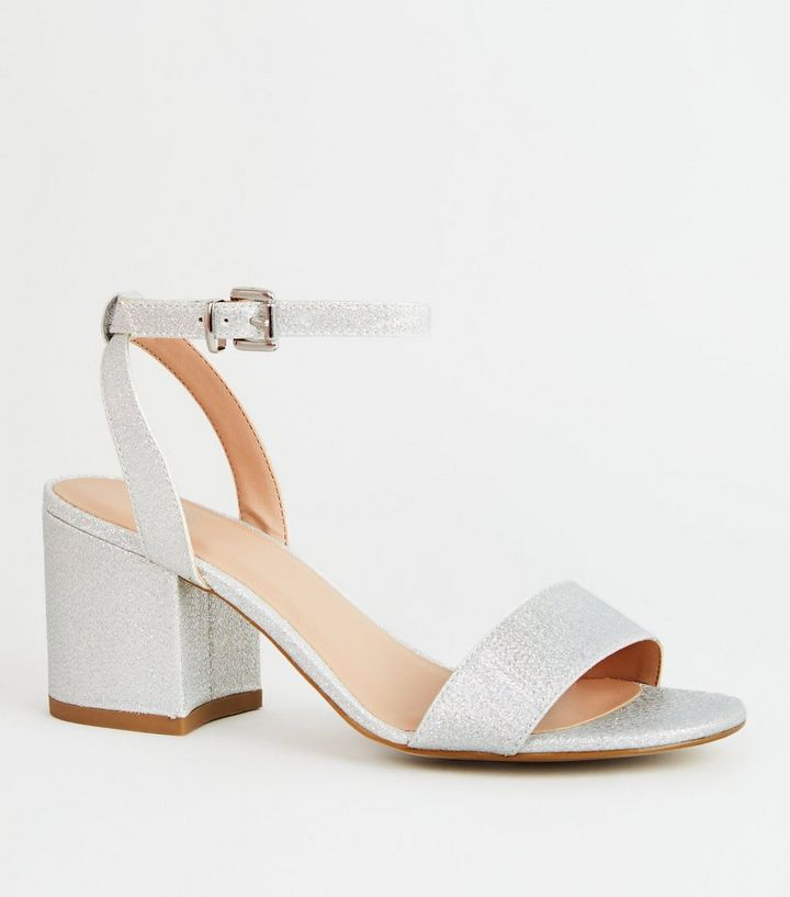 dd807d11ab6 Girls Silver Glitter Block Heel Sandals Add to Saved Items Remove from  Saved Items
