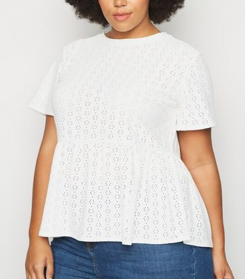 Curves White Broderie Peplum Top