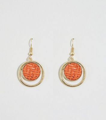 Orange Woven Raffia Disc Earrings