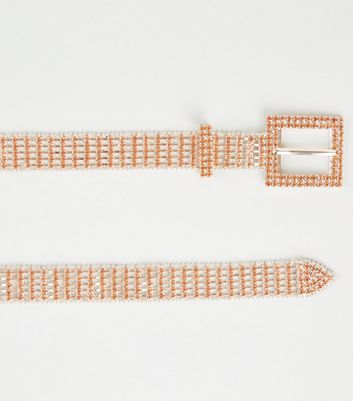 Rose Gold Diamanté Embellished Chain Belt by New Look