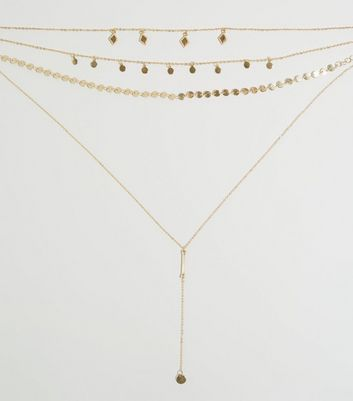 Gold Layered Charm Chain Necklace