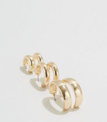 3 Pack Gold Mini Hoop Earrings