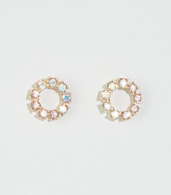 Multicoloured Open Circle Diamanté Stud Earrings