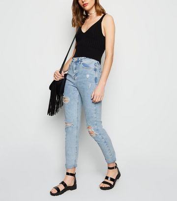 Pale Blue Ripped Tori Mom Jeans