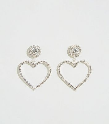 Silver Premium Heart Door Knocker Earrings