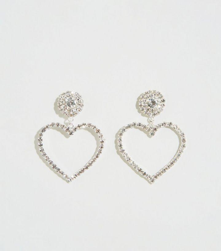 Silver Premium Heart Door Knocker Earrings New Look