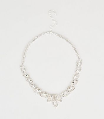 Silver Premium Gem Diamanté Necklace