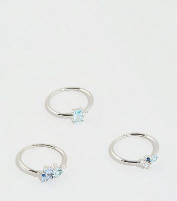 Blue Cubic Zirconia Stacking Rings