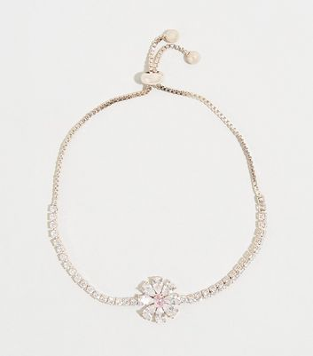 Rose Gold Cubic Zirconia Flower Bracelet