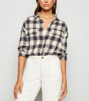 White Check Oversized Flannel Shirt