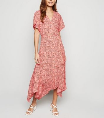 Red Ditsy Floral Button Up Midi Dress