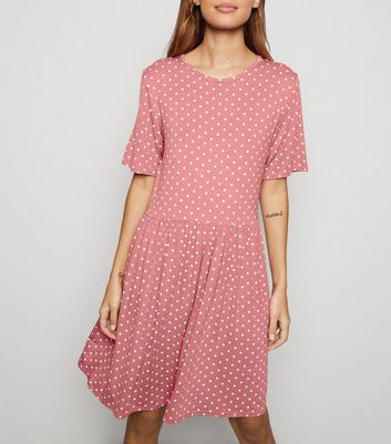 Pink Spot Print Short Sleeve Smock Dress