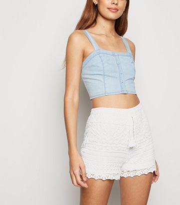 White Crochet Drawstring Shorts