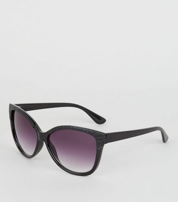 Black Faux Croc Trim Oversized Sunglasses