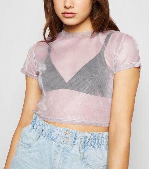 5d1d99d69d3 ... Pink 2 Tone Mesh Boxy Crop T-Shirt ...