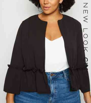 Curves Black Ruffle Hem Jacket