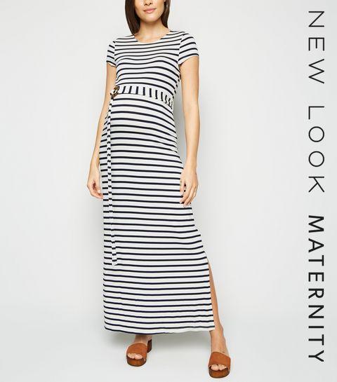 a4f77839c333 ... Maternity White Stripe Belted Maxi Dress ...
