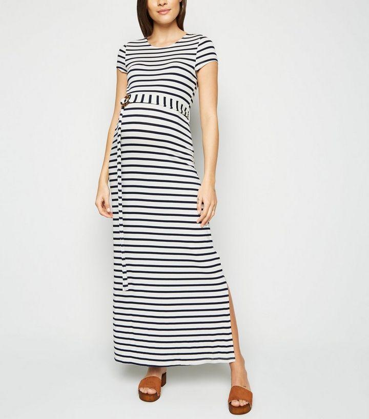 1cb5f78e03d31 Maternity White Stripe Belted Maxi Dress   New Look