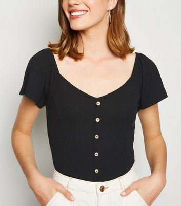 Black Flutter Sleeve Button T-Shirt