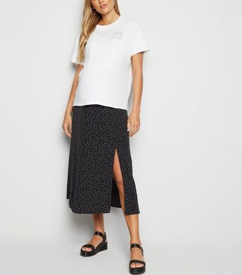 Maternity Black Spot Side Split Midi Skirt