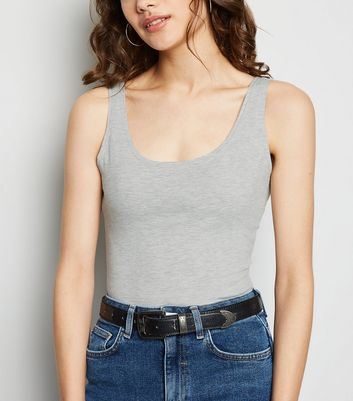 Grey Marl Scoop Neck Vest Bodysuit