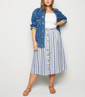 Curves White Stripe Linen Look Midi Skirt