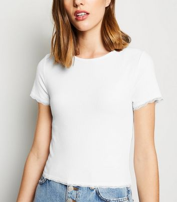 White Ribbed Lace Hem T-Shirt