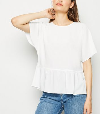 Off White Short Sleeve Peplum T-Shirt