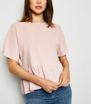 Pale Pink Short Sleeve Peplum T-Shirt