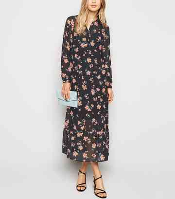 Black Floral Chiffon Midi Shirt Dress