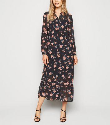 Robe chemise mi longue noire en mousseline à imprimé floral Ajouter à la Wishlist Supprimer de la Wishlist