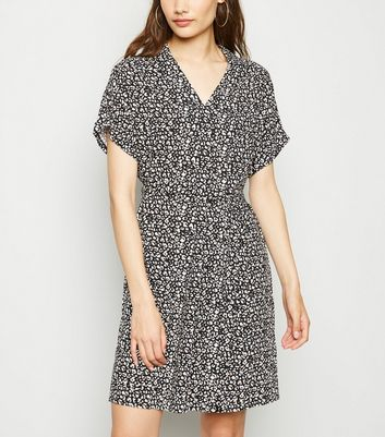 Black Leopard Print Tie Waist Tunic Dress