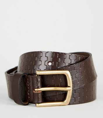 Brown Leather Brick Embossed Belt