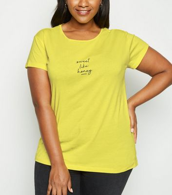 "Curves – Gelbes T-Shirt mit ""Sweet Like Honey""-Slogan"