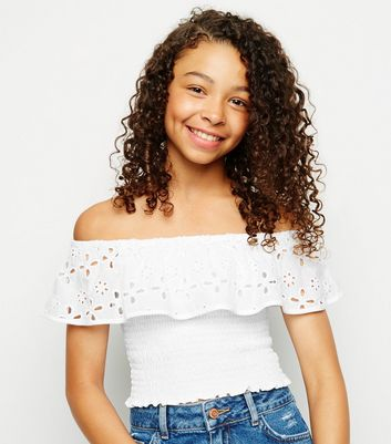 Girls White Broderie Shirred Bardot Top