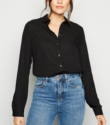 Tall Black Collared Long Sleeve Shirt