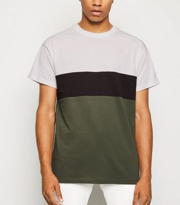 Khaki Colour Block Crew T-Shirt