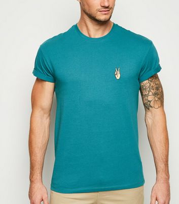 Teal Peace Hand Motif T-Shirt